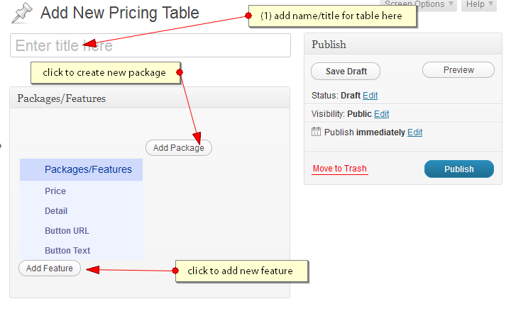 Add new pricing table - wordpress pricing table plugin