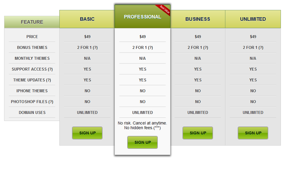 WordPress Pricing Table Preview