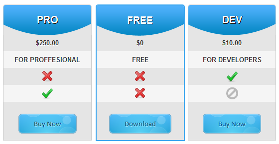 Special Blue - Pricing Table Template