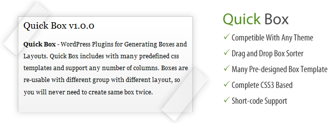 Quick Box - WordPress Plugin for Generating Boxes and Layouts