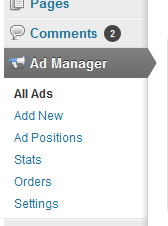 ad manager menu