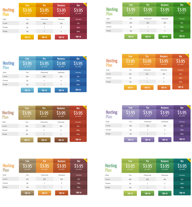 Wordpress pricing table plugin pro for Table design on word