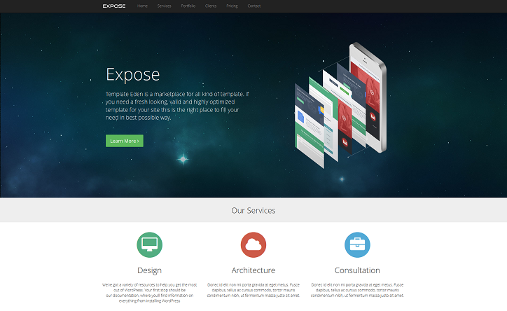 Expose - One Page Responsive WordPress Theme